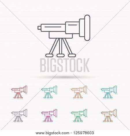 Telescope icon. Spyglass sign. Astronomy magnify lens symbol. Linear icons on white background.