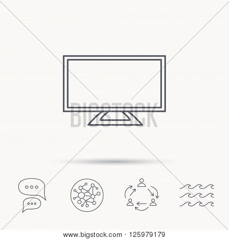 Lcd tv icon. Led monitor sign. Widescreen display symbol. Global connect network, ocean wave and chat dialog icons. Teamwork symbol.