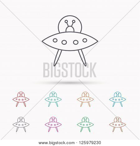 UFO icon. Unknown flying object sign. Martians symbol. Linear icons on white background.