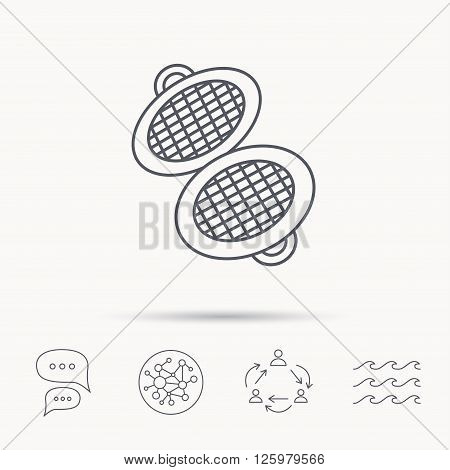 Waffle iron icon. Kitchen baking tool sign. Global connect network, ocean wave and chat dialog icons. Teamwork symbol.