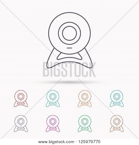 Web cam icon. Video camera sign. Online communication symbol. Linear icons on white background.
