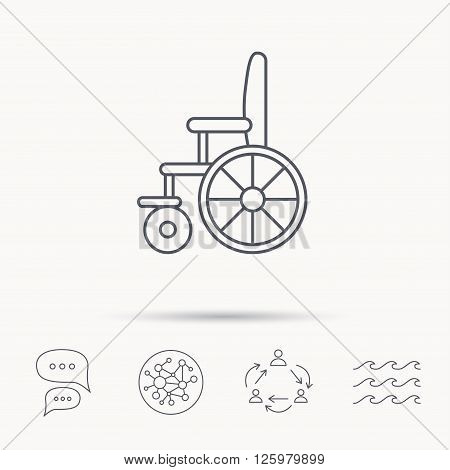 Wheelchair icon. Disabled traffic sign. Global connect network, ocean wave and chat dialog icons. Teamwork symbol.