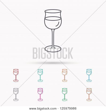 Wineglass icon. Goblet sign. Alcohol drink symbol. Linear icons on white background.
