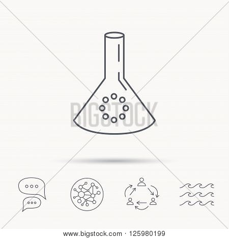 Laboratory bulb or beaker icon. Chemistry sign. Science or pharmaceutical symbol. Global connect network, ocean wave and chat dialog icons. Teamwork symbol.