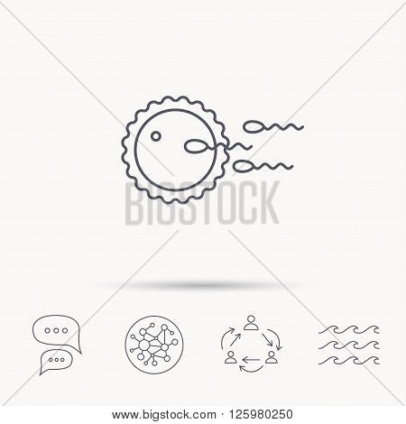 Family planning icon. Fertilization sign. Global connect network, ocean wave and chat dialog icons. Teamwork symbol.