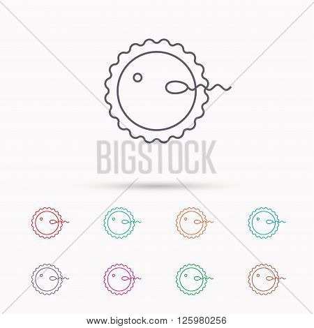 Fertilization icon. Pregnancy sign. Spermatozoid and egg symbol. Linear icons on white background.
