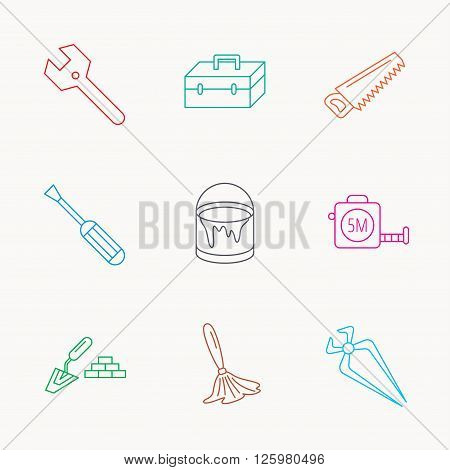 Wrench key, screwdriver and paint brush icons. Toolbox, nippers and saw linear signs. Finishing spatula icon. Linear colored icons.