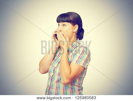 Girl Brunette Talking On A Cellular Phone