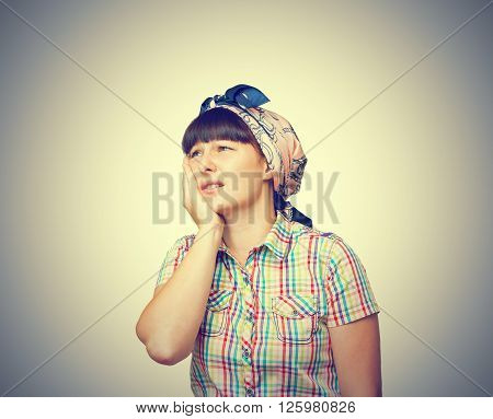 The Woman Is A Housewife In A Headscarf Is Suffering From A Toothache
