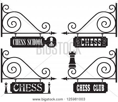 A set of street signs for chess clubs chess schools competitions with chess pieces as decoration.