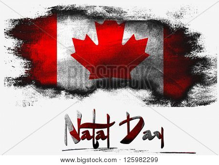Flag of Canada for Natal Day with white background, 3d rendering