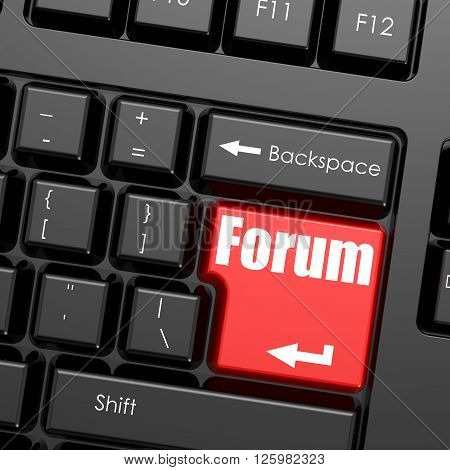 Red enter button on computer keyboard Forum word. Business concept, 3d rendering