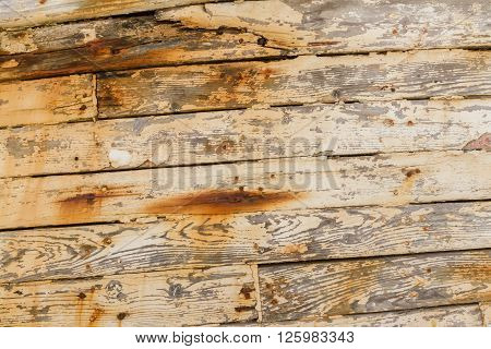 Closeup of Wood Planks on Derelict Wooden Fishing Boat Wreck in Latsi Cyprus