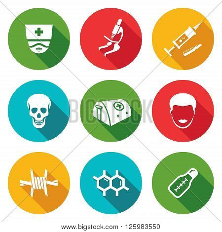 Epidemic protection and medical Icons Set. Vector Illustration. Isolated Flat Icons collection on a color background for design