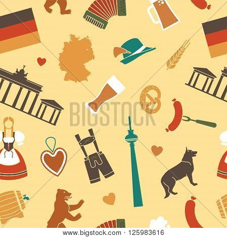 Pattern with traditional symbols of culture, architecture and cuisine of Germany
