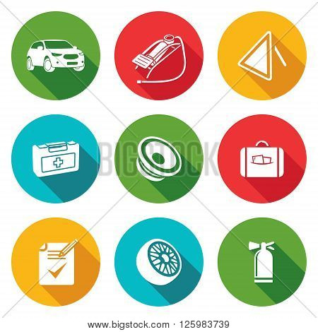 Car service Icons Set. Isolated Flat Icons collection. Vector Illustration.