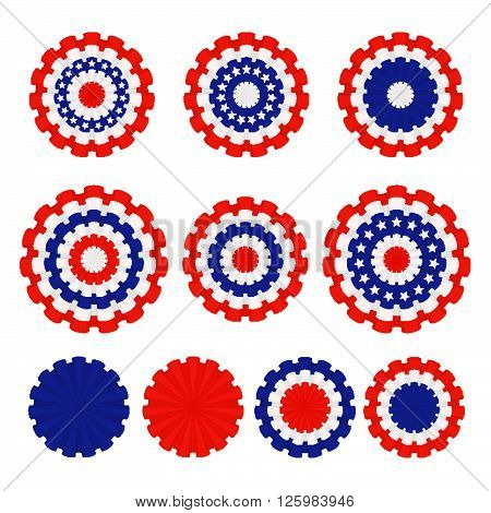 Holiday ribbon rosettes, isolated on white background. Blue, white and red colors. Design for advertising, leaflet, cards, invitation and so on.