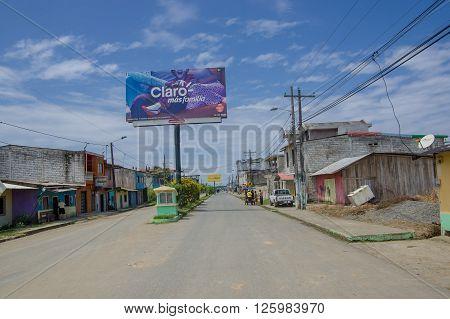 Muisne, Ecuador - March 16, 2016: Downtown of Muisne city, in the coast of Ecuador.
