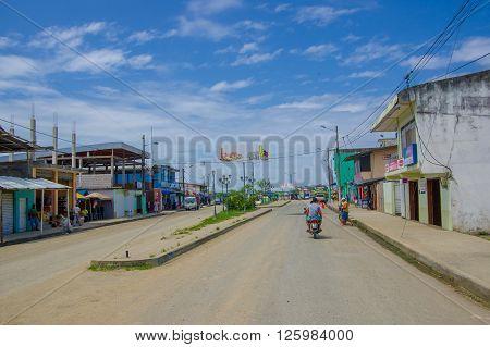 Muisne, Ecuador - March 16, 2016: Streets of downtown of Muisne city, in the coast of Ecuador.