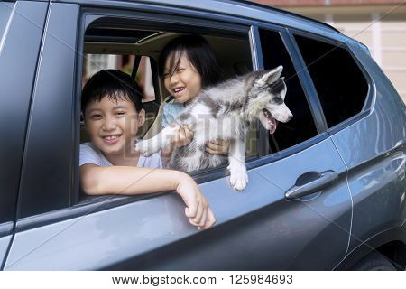 Portrait of two cheerful children playing with siberian husky puppy in the car and smiling at the camera