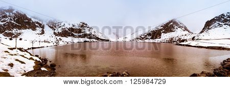 Panoramic photograph of the lakes of Covadonga in the Picos de Europa.