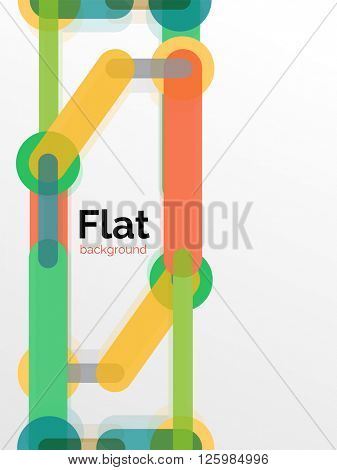 Colorful connected lines on white - abstract background