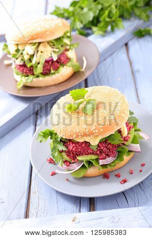 veggie burger with beetroot steak