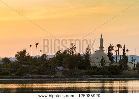 Hala Sultan Tekke On Larnaca Salt Lake In Cyprus