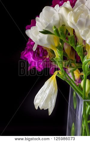 Lily Flower Bouquet In Vase On Black Background
