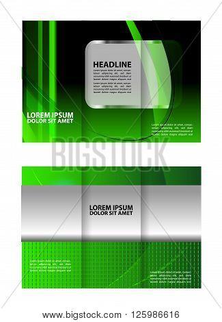 green brochure tri fold template. tri fold business brochure template
