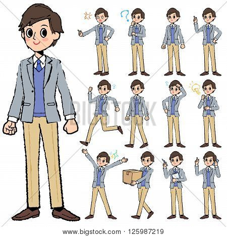 Set of various poses of Jacket blue vest men in hand painted
