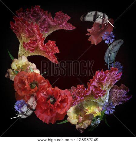 motley floral design bouquet on black background