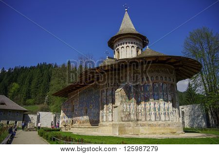 Suceava, ,Romania - April 30, 2014: The Monastery Voronet is one of Romanian painted Orthodox monasteries in southern Bucovina  region