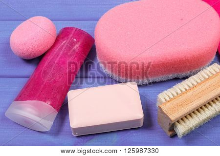 Cosmetics and accessories for personal hygiene, soap body scrub sponge pumice brush, concept of body care