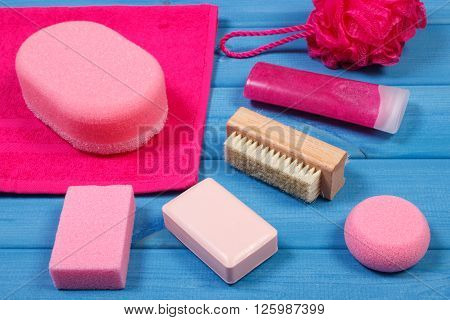 Cosmetics and accessories for personal hygiene, soap,body scrub,  towel bath puff brush pumice concept of body care