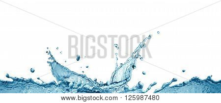 Nice abstract water splash with drops on white background