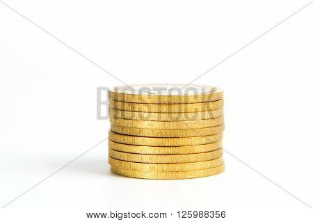 Crooked Stack Of Shiny Gold Coins Isolated