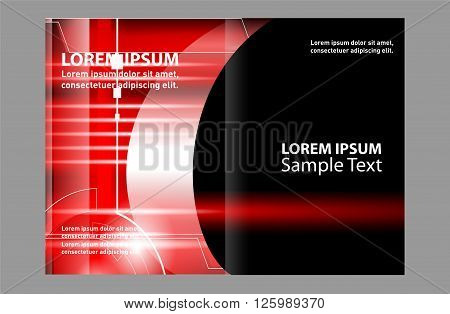 red brochure template. Black bi-fold brochure template design, business leaflet, booklet