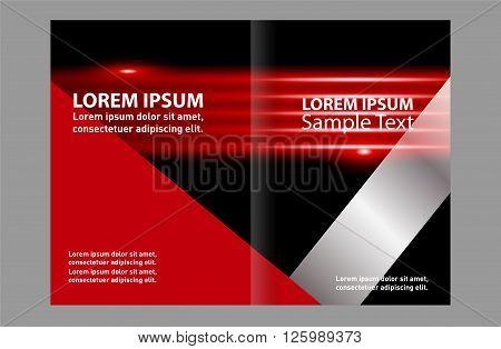 Black bi-fold brochure template design, business leaflet, booklet