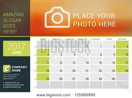 June 2017. Desk Calendar For 2017 Year. Vector Design Print Template With Place For Photo, Logo And