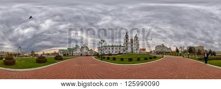 MINSK, BELARUS - 8 APRIL 2016: 360 degree panorama with Doves flying over Svyato-Duhov (Saint Spirit) Cathedral in Minsk, Capital of Belarus