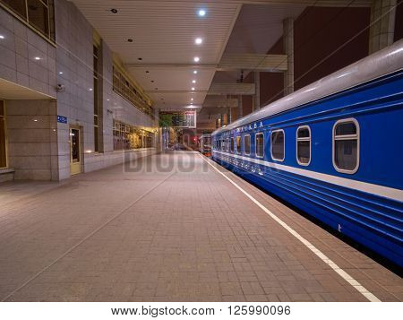 MINSK, BELARUS - 08 APRIL 2016: Night Train Minsk-Moscow on a Platform of Minsk Station, Capital of Belarus