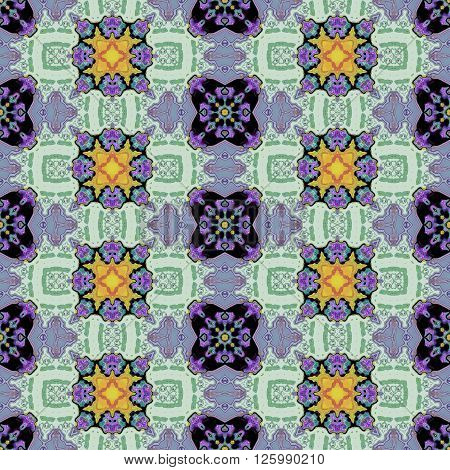 Kaleidoscopic ornamental pattern generated abstract background texture
