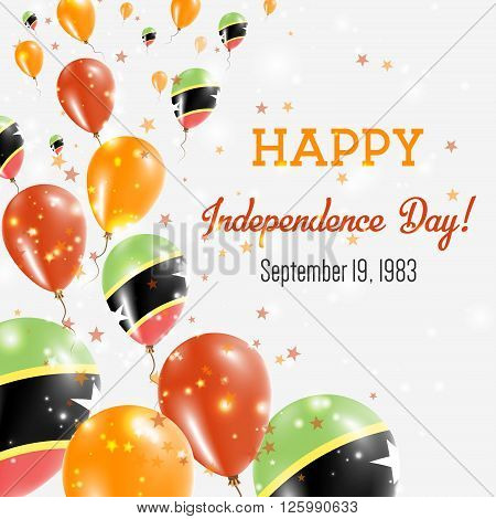 Saint Kitts And Nevis Independence Day Greeting Card. Flying Balloons In Saint Kitts And Nevis Natio