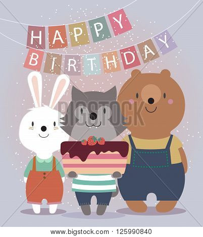 Cute Happy Birthday card with funny animals. Bear, hare, wolf, and cake. Vector illustration eps10.