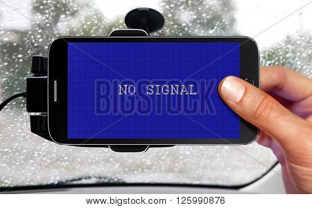 no signal from portable device for navigation of car