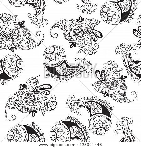 Seamless indian cucumbers pattern. Stock mehndi illustration for design