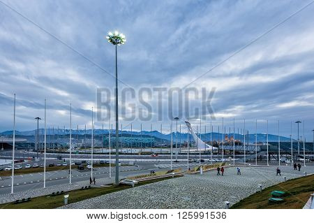 Sochi, Russia - February 5, 2016: Olympic Park - one of the main objects of the Olympic Winter Games of 2014 in Sochi