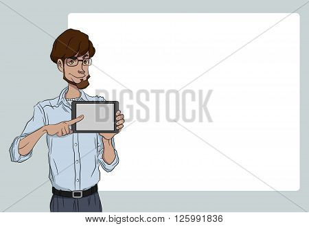 Guy with tablet screen on white background. Vector illustration character with bubble talk. Flat design concepts for web banners web sites printed materials infographics startup marketing.