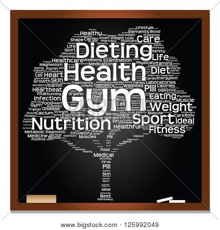 Vector concept or conceptual blackboard health or diet green text word cloud or tagcloud tree isolated on black background